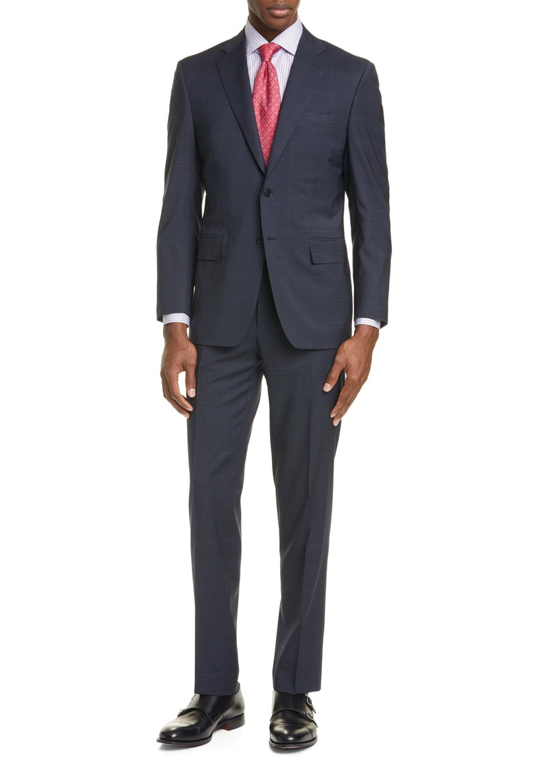 Canali Siena Soft Classic Fit Windowpane Stretch Wool Suit