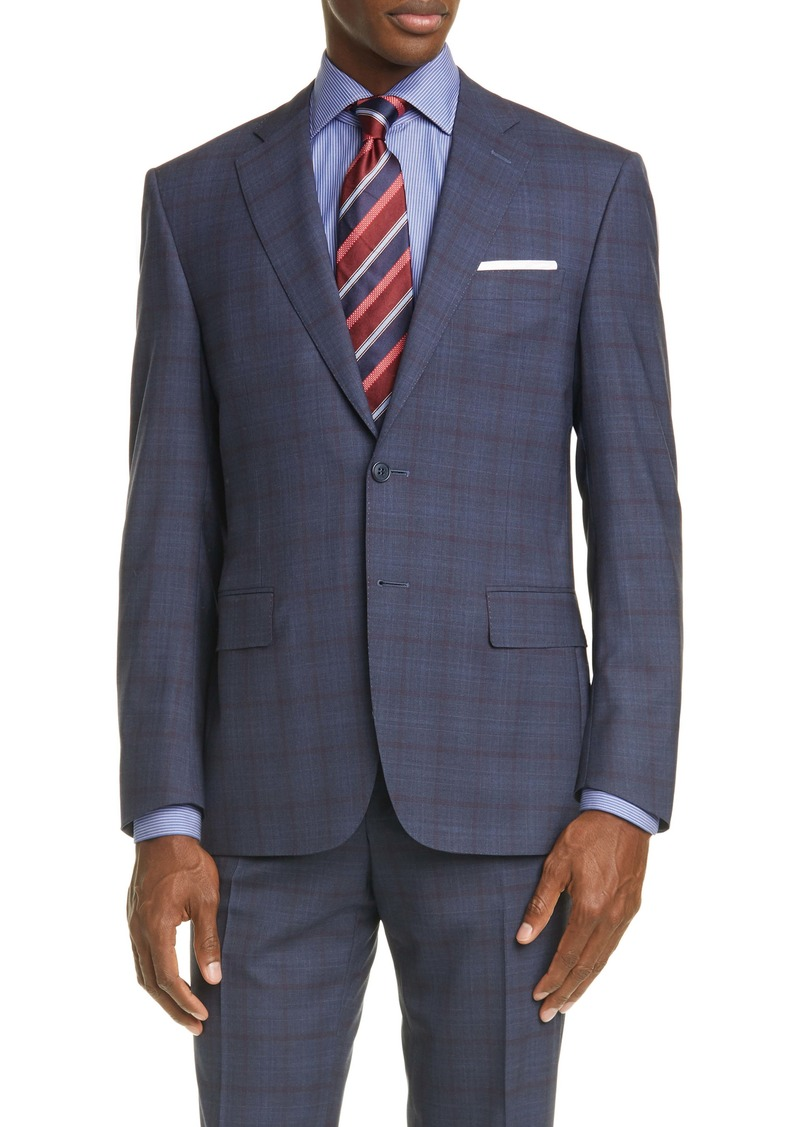 Canali Siena Soft Classic Fit Windowpane Wool Suit