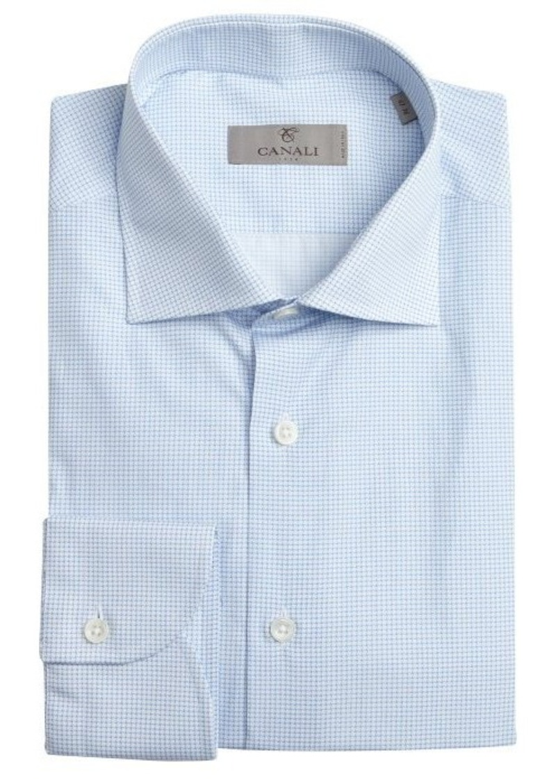 Canali canali sky blue and white pinwheel pattern cotton for Blue white dress shirt