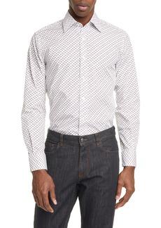 Canali Slim Fit Cherry Print Dress Shirt