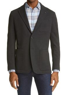 Canali Solid Chevron Wool Blend Sport Coat