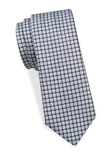 Canali Square-Print Silk Tie