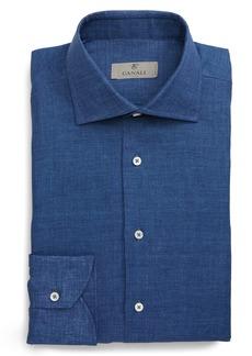 Canali Trim Fit Chambray Linen Dress Shirt