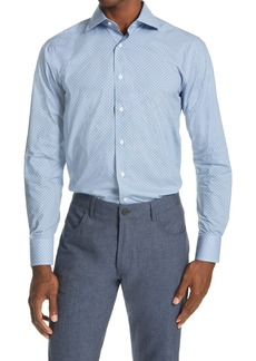 Canali Trim Fit Patterned Dress Shirt