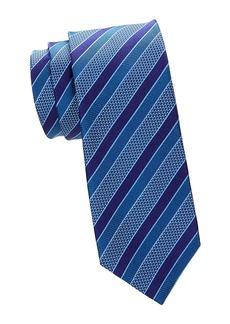 Canali Check & Diagonal Stripe Silk Tie