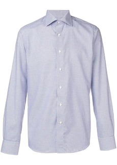 Canali check print spread collar shirt
