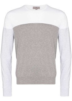 Canali colour-blocked cotton jumper