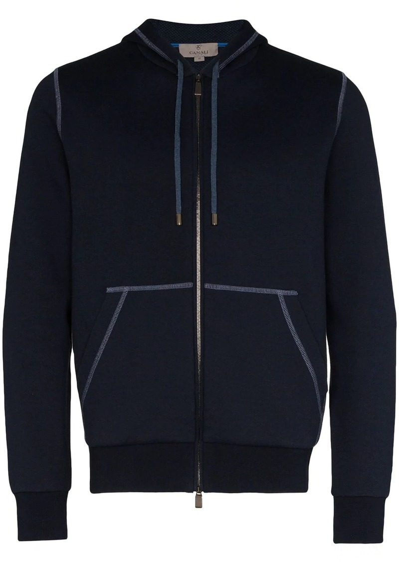 Canali contrast stitched hoodie