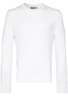 Canali crew neck check pattern jumper