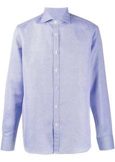 Canali curved hem long sleeve shirt