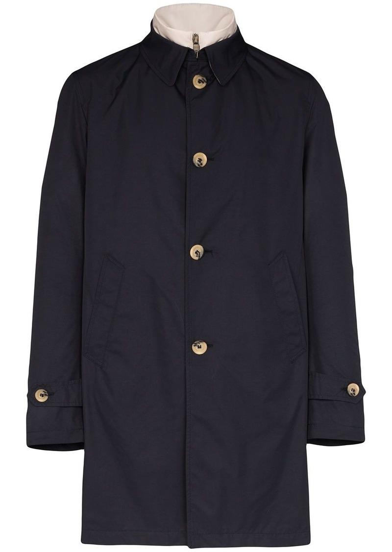 Canali detachable gilet button-up coat