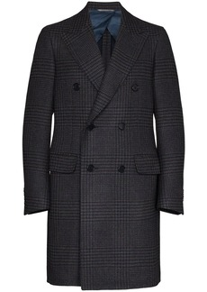 Canali double-breasted checked coat