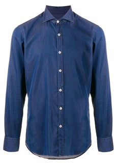Canali fitted denim shirt