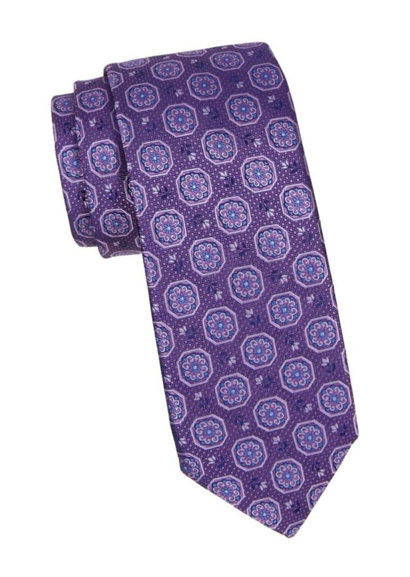 Canali Flower Medallion Silk Tie