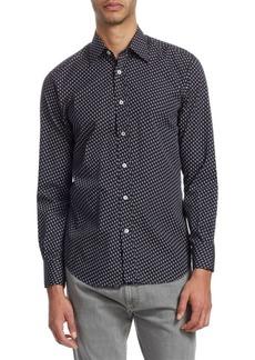 Canali Geometric Cotton Button-Down Shirt