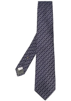 Canali geometric-print silk tie