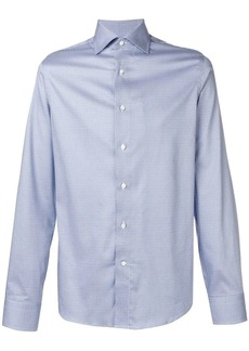 Canali geometric print spread collar shirt