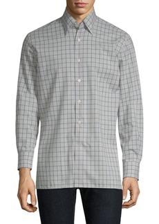 Canali Grid-Print Cotton Button-Down Shirt