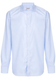 Canali houndstooth micro print shirt