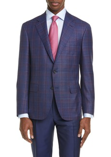 Canali Kei Classic Fit Windowpane Plaid Wool Sport Coat