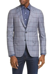 Canali Kei Trim Fit Plaid Wool Sport Coat