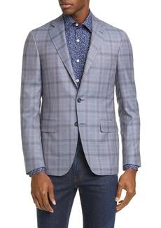 Canali Kei Trim Fit Plaid Wool Sport Coat