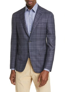 Canali Kei Trim Fit Stretch Plaid Wool Sport Coat