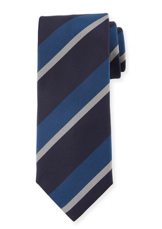 Canali Large Diagonal Stripe Silk Tie