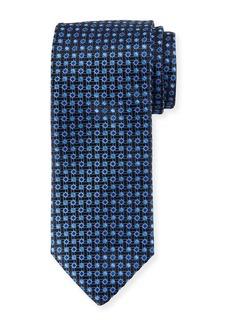 Canali Lattice Box Silk Tie  Navy Blue