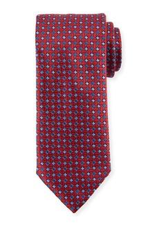 Canali Lattice Box Silk Tie  Red