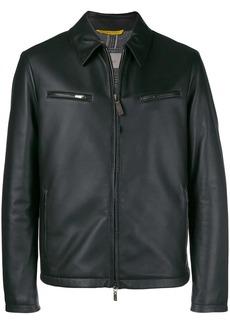 Canali leather zipped up jacket