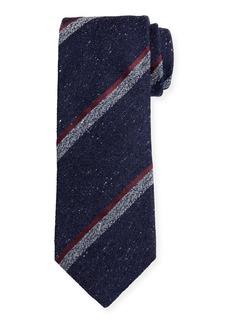 Canali Melange Stripe Silk-Wool Tie  Navy