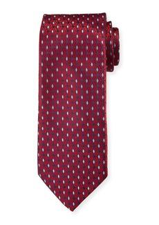 Canali Men's 3D Diamonds Silk Tie  Red