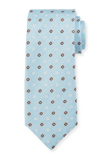 Canali Men's Alternating Flower Silk Tie  Light Blue