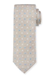 Canali Men's Alternating Flower Silk Tie  Tan