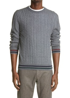 Men's Canali Cable Wool Crewneck Sweater