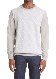 Men's Canali Men's Diamond Wool & Cashmere Crewneck Sweater