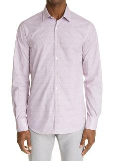 Men's Canali Regular Fit Knit Button-Up Shirt