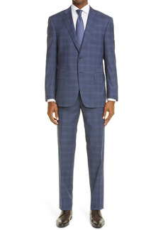Men's Canali Sienna Plaid Stretch Wool Suit