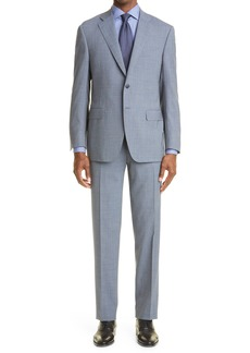 Men's Canali Sienna Soft Classic Fit Microcheck Wool Suit
