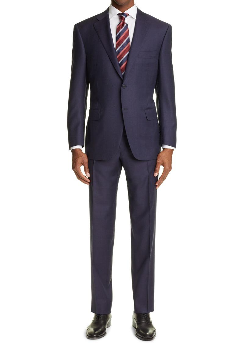 Men's Canali Sienna Soft Jacquard Plaid Wool Suit