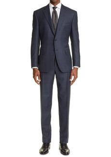 Men's Canali Sienna Soft Windowpane Wool Suit