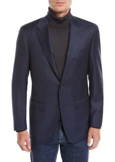 Canali Men's Check Wool Two-Button Sport Coat Jacket