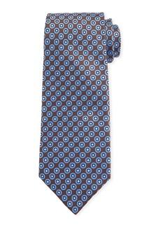 Canali Men's Chevron Medallion Silk Tie  Brown