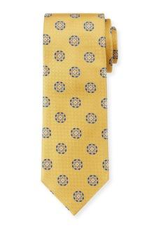 Canali Men's Circle Medallions Silk Tie  Yellow