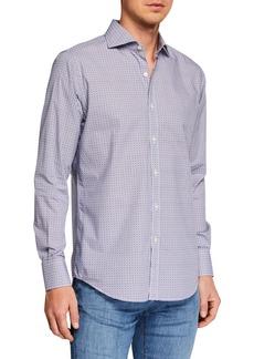 Canali Men's Circle Print Long-Sleeve Dress Shirt