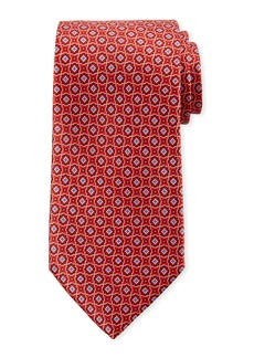Canali Men's Connected Medallions Silk Tie  Red