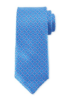 Canali Men's Connected Medallions Silk Tie  Blue