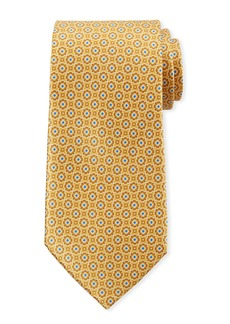 Canali Men's Connected Medallions Silk Tie  Yellow