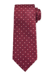 Canali Men's Contemporary Links Silk Tie  Red